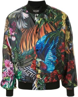 Roberto Cavalli Paradise Found print bomber jacket