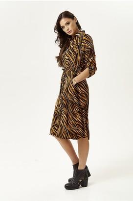 Liquorish Midi Shirt Dress In Brown Zebra Print