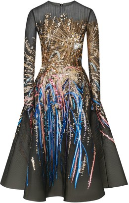 Oscar de la Renta Fireworks sheer short dress