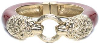 Chanel Gold-Tone & Resin Double Lion Head Bangle