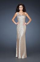 La Femme 18634 Asymmetrical Sequined Evening Gown