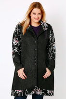 Yours Clothing Black & Multi Fancy Frock Coat With Funnel Neck