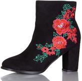Quiz Black And Red Faux Suede Embroidered Ankle Boots