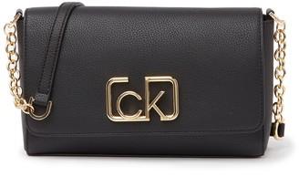 Calvin Klein Sculpted Montego Leather Flap Crossbody Bag