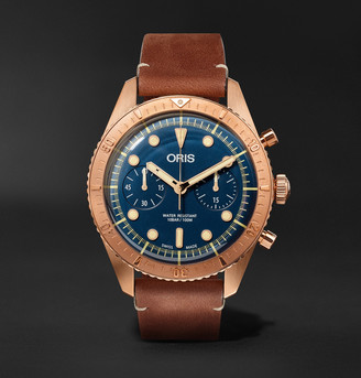 Oris Carl Brashear Automatic Chronograph 43mm Burnished Bronze and Leather Watch, Ref. No. 01 774 7744 3185 - Men - Blue