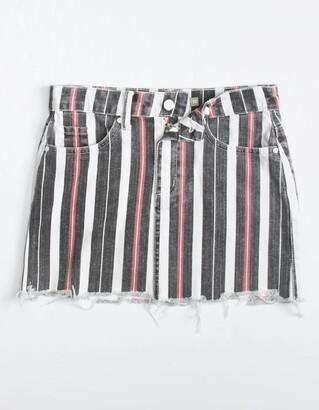 Tractr Stripe Girls Denim Mini Skirt