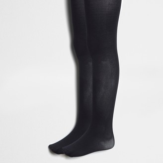 River Island Girls Black knitted tights 2 pack