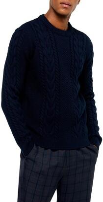 Topman Crewneck Cable Knit Sweater