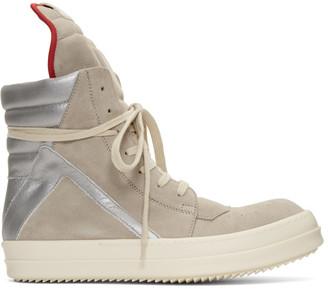 Rick Owens Beige and Silver Geobasket Sneakers