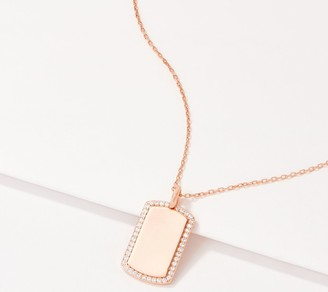Diamonique Pave Outlined Dog Tag Necklace, Sterling Silver