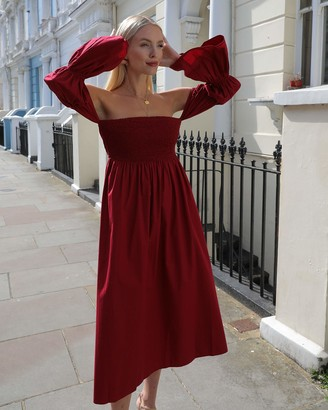 The Drop Women's Bordeaux Off Shoulder Tiered Puff Sleeve Midi Dress by @leoniehanne S