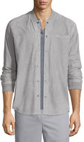 Vince Button-Down Suede Shirt Jacket, Alloy