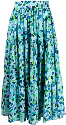 Gianluca Capannolo High-Rise Floral-Print Tiered Midi Skirt