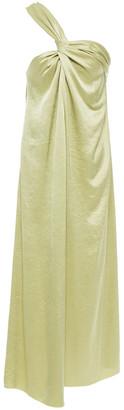 Nanushka Zena One-shoulder Twist-front Crinkled Washed-satin Midi Dress