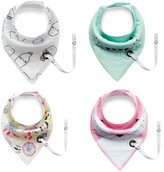 Elufly New Style 4 Pack Unisex Baby Bandana Drool Bibs with String for Nipple