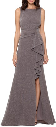 Betsy & Adam Ruffle Front Metallic Knit Gown