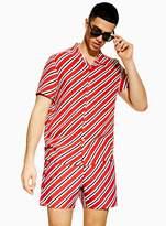 TopmanTopman Red Diagonal Stripe Revere Shirt
