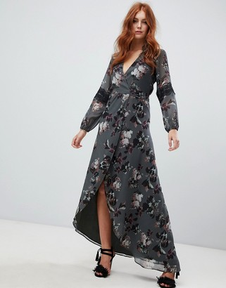 Hope & Ivy long sleeve wrap front maxi dress in floral print