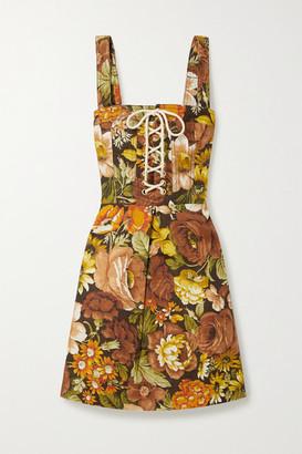 Zimmermann Bonita Lace-up Floral-print Linen Mini Dress - Dark brown