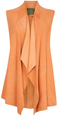 Zut London Suede Leather Sleeveless Jacket -Soft Orange