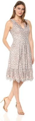Brinker & Eliza Women's Lace Fit and Flare Dress Grey 6