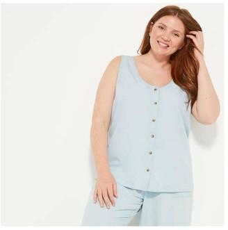 Joe Fresh Women+ Button-Front Tank, Light Blue (Size 3X)