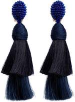 Oscar de la Renta Beaded horse hair tassel clip earrings