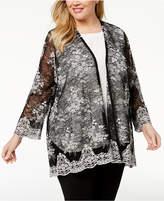 Alfani Plus Size Sheer Lace Kimono, Created for Macy's