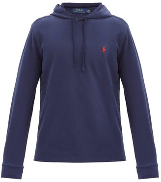 Polo Ralph Lauren Logo-embroidered Cotton-pique Hooded Sweatshirt - Navy