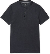 HUGO BOSS Slim-Fit Denim-Trimmed Cotton-Blend Jersey Henley T-Shirt
