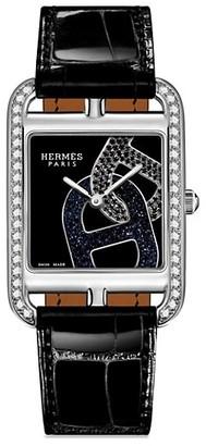 Hermes Cape Cod 29MM Diamond, Stainless Steel & Alligator Strap Watch
