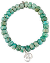 Sydney Evan Beaded Green Amazonite Bracelet with Diamond Om Charm