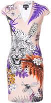 Just Cavalli leopard and floral print mini dress