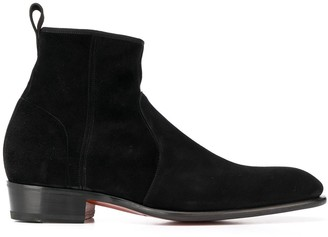 Santoni textured side zip ankle boots