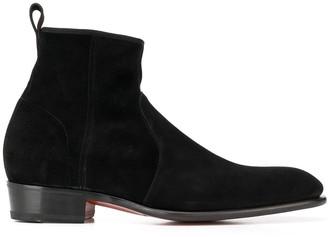 Santoni Textured Side Zip Ankle Boots