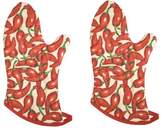 Now Designs Basic Oven Mitts, Chilies, Set of 2