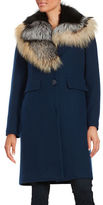 1 Madison Fox Fur-Trimmed Walker Coat