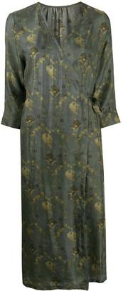 UMA WANG Floral-Print Wraparound Midi Dress