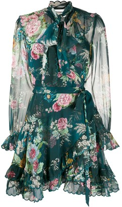 Zimmermann Tie Neck Floral Print Dress