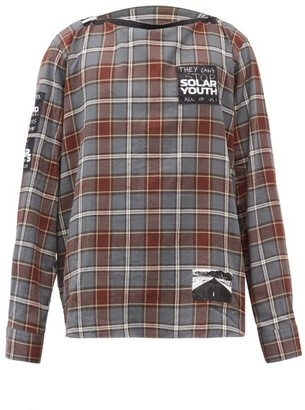 Raf Simons Logo-patch Check Cotton-flannel Shirt - Grey Multi