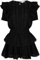 LoveShackFancy Natasha Black Cotton Mini Dress