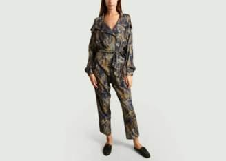 Carolina Ritzler Navy Blue Viscose Dallas Jungle Print Jumpsuit - wool | navy blue | 34 | jungle print - Navy blue