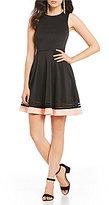 Jodi Kristopher Color Block Hem Fit-And-Flare Dress