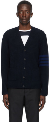 Thom Browne Navy Cashmere 4-Bar Variegated Cardigan