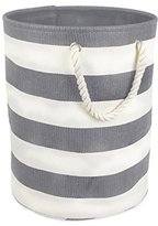 DII Woven Paper Textured Laundry Hamper or Basket, Collapsible & Convenient For Bedroom, Nursery, Dorm, or Closet - Medium Round, Gray Stripe