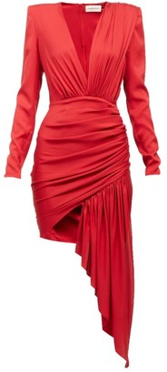 Alexandre Vauthier Plunge-neck Draped Silk-blend Mini Dress - Red