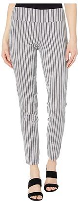 Elliott Lauren Ship Shape Pull-On Pants with Black Slit Detail (Blue/White) Women's Casual Pants