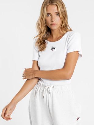 Stussy Graffiti Rib Short Sleeve T-Shirt in White