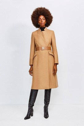 Karen Millen Hardware Belted Wool Coat