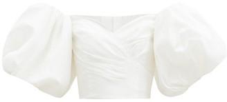 Aje Glaze Off-the-shoulder Taffeta Bustier Top - White
